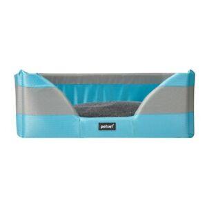 Walled Soft Dog Basket Bed in Light Blue Medium