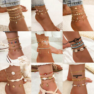 Fashion Women Anklets Layered Ankle Bracelet Leg Chain Beach Foot Jewelry Gifts