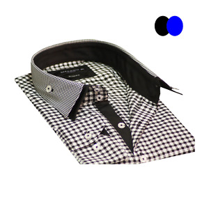 Men's Classic Check Shirt Long Sleeve Double Collar Slim Fit Cotton Size M-2XL