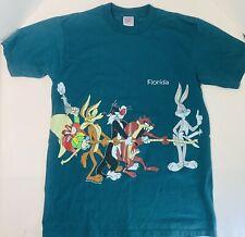 Vtg Looney Tunes Shirt Tug of War Florida Green Sherrys Double Sided 1995