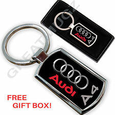 AUDI A4 CAR KEYRING KEY CHAIN RING FOB CHROME METAL NEW