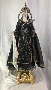 Madonna Addolorata Dolosa Santa vestita  60 cm statua devozionale