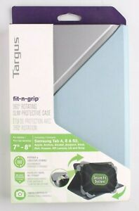 """Targus Fit-n-Grip THZ66202GL Carrying Case Folio for 7-8"""" Tablet Blue Silver NEW"""