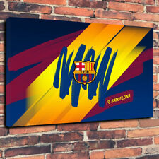 """FC Barcelona Printed Box Canvas Picture A1.30""""x20"""" 30mm Deep Frame. FCB Football"""