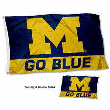 Michigan Wolverines Go Blue Flag Double Sided 2-Ply 3x5 Foot Outdoor Banner