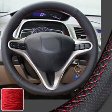 Hand Stitch Steering Wheel Cover DIY Wrap for 06-11 08 Honda Civic (13.5-14in)