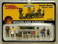 NIB HO Woodland Scenics A1896 Farmer's Market 14 Piece