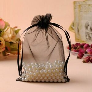 Large Drawstrings Gifts Pouches For Weddings Favors Organza Bags Black Jewelries