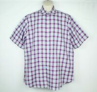 Peter Millar Mens Button Down Shirt Size Medium Plaid Purple Linen Cotton