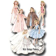 "Vtg 1950s Pattern 12"" 12.5"" Manikin Fashiondol ~ Wedding Dress, Nightgown, Robe"