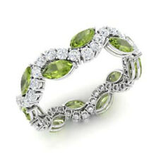 Natural 3.40 Ct Peridot Gemstone Band Solid 950 Platinum Diamond Bands Size N P
