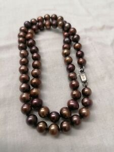 Bronze Freshwater Pearl Bead Necklace With Sterling Silver Clasp