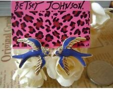 E357 BETSEY JOHNSON Flying Rhinestone Blue Swallow Martin Earrings US