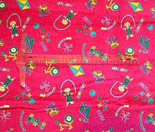Pink Corduroy fabric print Kids Children Games Jump rope Jacks Kite Skate 1.5 yd