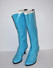 Sailor Moon Boots Light Blue White Cosplay Costume Halloween Knee Boots Size 6