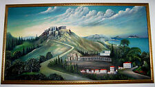 """Large Original Painting GREECE Temple Greek Ruins Olive Cypress Trees 40"""" Wide"""