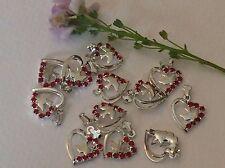 Colgantes vintage joyería Silvertone componentes Rojo Corazón x6 14mm Craft