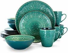 Elama Sea Foam Mozaic 16 Piece Luxurious Stoneware Dinnerware with Setting for 4