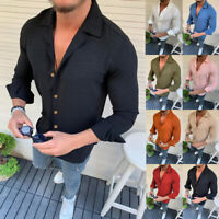 Fashion Mens Summer Long Sleeve Linen T Shirt Casual Slim Fit Tops Blouse Shirts
