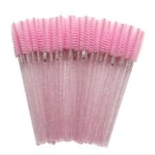 20x Disposable Pink Eyelash Makeup Brush Crystal Pink Handle Mascara Wands