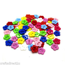 100 Resin Buttons - FLOWERS - Scrapbooking - Crafting - Sewing - UK SELLER