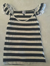 juniors LIVING DOLL TANK TOP sleeveless shirt WORN ONCE stripe BLACK TAN medium