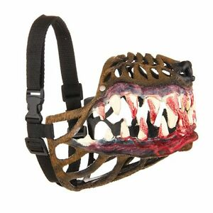 Werewolf Dog Muzzle Adjustable With Scary Teeth Dog Muzzle Zombie All Sizes