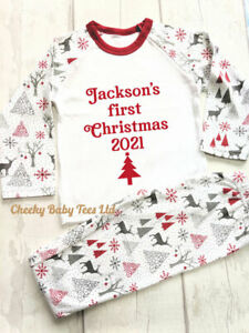 Personalised First 1st Xmas Christmas Pyjamas, Baby Toddler Xmas PJs, Any Name