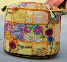 22'' Indian Patchwork Round Pouf Ottoman Cover Foot Stool Moroccan Pouffe Covers