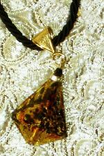 MURANO GLASS Leopard Pyramid Necklace on Black Cord MADE IN ITALY