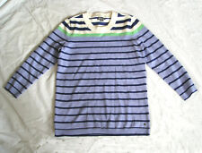 Eddie Bauer - NWT Blue, Navy & White Striped knit top, 3/4 slv Cotton Nylon, S