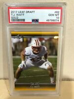 POP 4💥2017 Leaf Draft Gold TJ Watt Rookie RC#62 PSA 10 Steelers HOF MVP BGS SGC