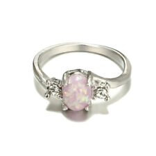 Silver Charm Pink Fire Opal Gemstone Ring Wedding Jewelry Engagement Size 6