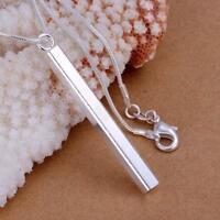 ASAMO Damen Halskette mit Stab Anhänger 925 Sterling Silber plattiert H1222