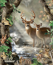 Realtree Deer in the Forest Quilt / Wall Panel Buck & Doe Print Concepts #6442