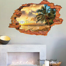 3D Effect Window View Palm Trees Beach Paradise Wall Stickers Home Decor Decals