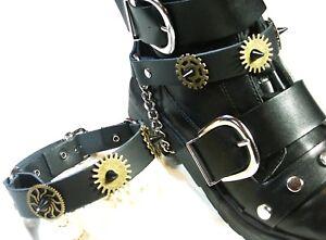 Pair Steampunk Boot Strap Black Brass Biker Rock Gothic Chain buckle Accessory