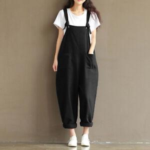 Women Casual Pants Loose Linen Bib Dungarees Jumpsuit Playsuit Overalls Trousers