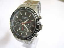 NEW MENS SEKONDA CHRONO  WATCH BLACK MULTI DIAL STAINLESS STEEL BRACELET 3064