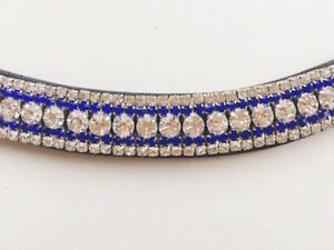 Great Quality Italian Leather 5 Rows Clear & Blue mega bling curve browbands
