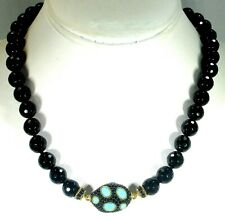 JUDITH RIPKA ONYX, BLACK SPINEL AND TURQUOISE NECKLACE - RETAIL $379.99