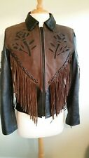 Womens Leather Jacket 80's Vintage Thinsulate Biker Brown & Black Sz S Rose Rare
