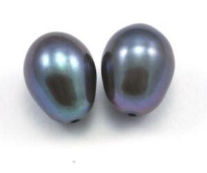 2x  Peacock Teardrop Oval Rice Half-drilled Freshwater Pearls Beads AAA