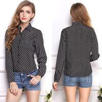 Fashion Women's Black Chiffon Polka Dot Print Top Blouse Loose Casual Tee Shirt