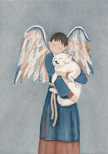 American Eskimo Dog with boy Angel / Lynch signed folk art print Samoyed Spitz