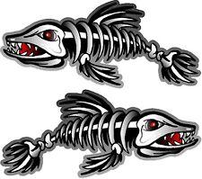 "2 - 3"" x 7"" Fish Skeleton Decals Sticker Boat Musky Pike Ice Fishing Kayak 1500"