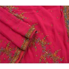Sanskriti Vintage Saree 100% Pure Georgette Silk Hand Beaded Fabric Premium Cult
