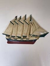 Vintage Burwood Products Sailing Ship Plastic Wall Hanging Made in Usa Retro