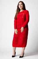 ex ASOS Red Jumper Oversized Midi Dress with Ladder Stitch RRP £32 Sizes 6-14