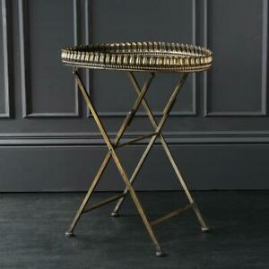 Alberta Metal Tray Table Gold Iron 74 x 43 x 62 cm Home Bar Vintage Industrial